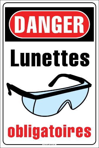 Affiches s curit danger simdut interdiction travail - Port des lunettes de securite obligatoire ...